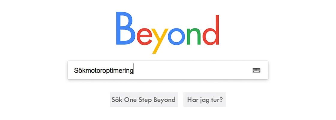 """Webbsökning på """"sökmotoroptimering"""", eller """"SEO"""", på den påhittade sökmotorn Beyond"""